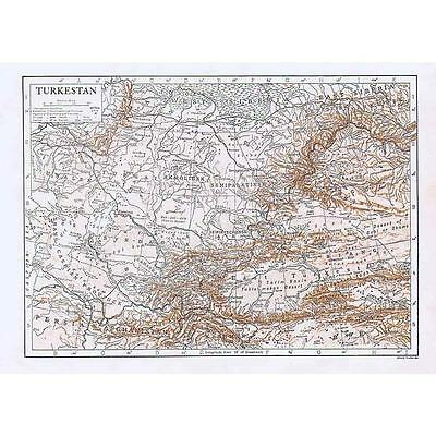 TURKESTAN - Antique Map 1910 by Emery Walker