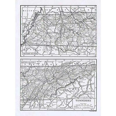 TENNESSEE State Map - Antique Map 1910 by Emery Walker