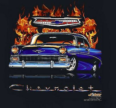 1956 Chevrolet T-shirts -  Chevy Bel Air - Flamed 100% Cotton