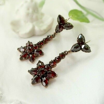 Vintage garnet star earrings w/14ct gold wires Victorian style ГРАНАТ OX4TCT#PK