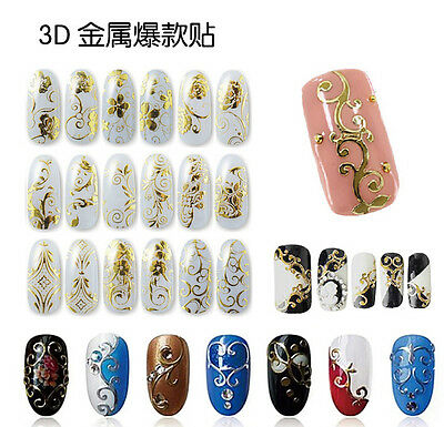 12 PCS 3D Gold Sliver Flower Nail Art Stickers Decals Manicure Decoration Hot