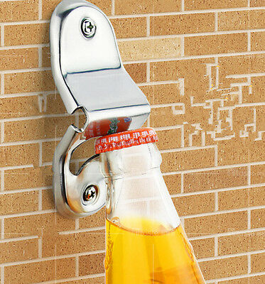 AUWO Stainless Steel Wall Mount Bar Beer Glass Cap Bottle Opener With Screws