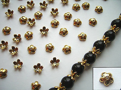 TIBETAN FLOWER BEAD CAPS / Antique Gold / Pack of 50 x 6.5mm diam / Findings