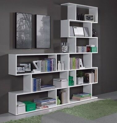 Ciara Room Divider 3 or 6 Tier Bookcase Ultra Modern Display Unit White Gloss
