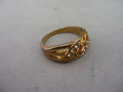 Clear Jewels (Some Missing) Gold Tone Vintage Mens Ring ~ Unsized ~