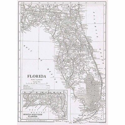 FLORIDA State Map - Vintage Map 1926 by Emery Walker
