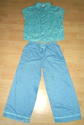 New Mini Boden Girls Turquoise Cotton Check Floral Summer Pyjamas Set All Size