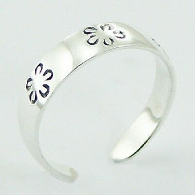 Wholesale bulk lot 10 x toe ring 925 sterling silver rounded flower 4mm new PSA