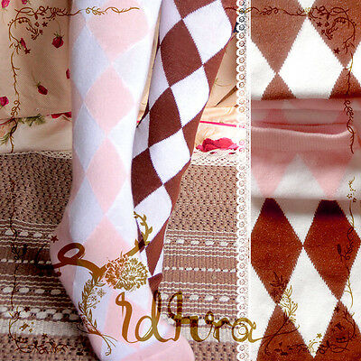 Cute Lolita Knit Academ Diamond Check Over-Knee Thigh High Stocking Sock Cosplay