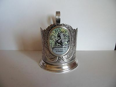 Russian soviet tea glass cup holder Pushkin