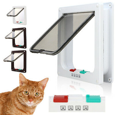 4 Way Magnetic Locking Lockable Pet Cat Dog Flap Door Safe Suitable For Any Wall