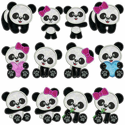 * PANDA 1 * Machine Applique Embroidery Patterns ** 12 Designs in 2 sizes