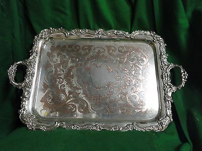 Silver Plated Old Sheffield Tray Engraved Cast Border 1820-40, English Antique
