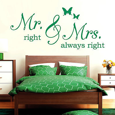 10785 Wandtattoo Loft Aufkleber Mr Right & Mrs Always Right /Ehe Spruch Hochzeit