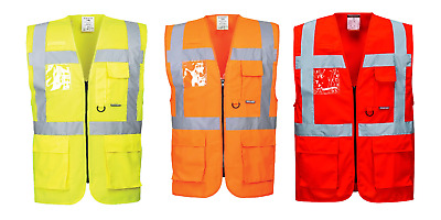 Portwest S476 Berlin Executive Hi Vis Safety Vest Waistcoat Jacket - Pockets ID