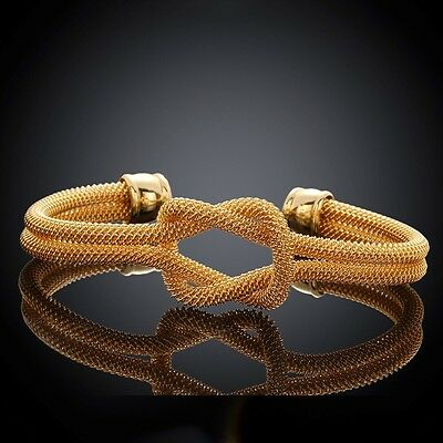 18k Yellow Gold  Plated Twisted Rope Bangle / Bracelet Women Fashion Jewelry UK
