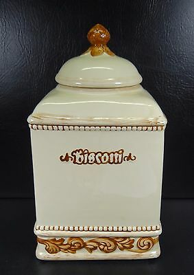 Nonni's Biscotti Cookie Jar Canister Brown Tan