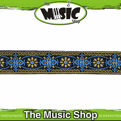 "New LM Retro Series 2"" Cotton Banjo Strap - Blue & Gold - LMBJ3"