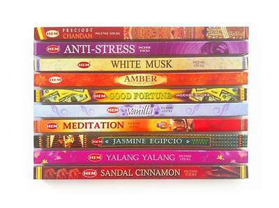 Incense Sticks Hem Brand Mixed Variety 10 Box Bulk Pack Total 80 Sticks