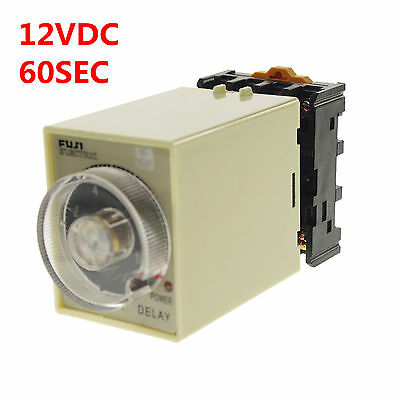 1PCS 12VDC Power off delay Time Timer Relay 0-60 seconds With Socket Base PF083A