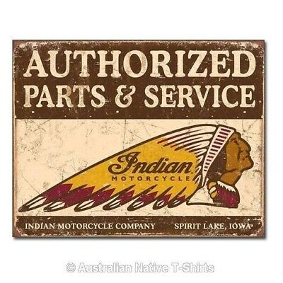 Authorized Indian Parts And Service Tin Sign (31.5cm x 40.5cm)
