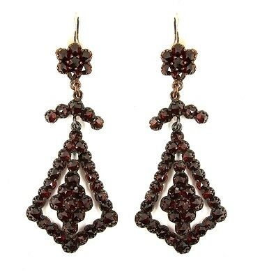 Vintage garnet earrings w/14ct gold wires Victorian style || ГРАНАТ