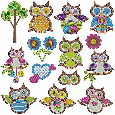 ** OWLS 2 ** Machine Embroidery Patterns * 14 designs x 2 sizes