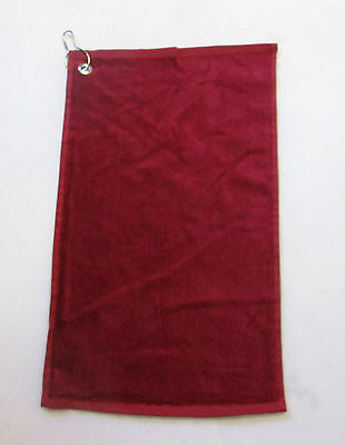 Golf Towel with Metal Clip  - 100% Cotton - Red - New