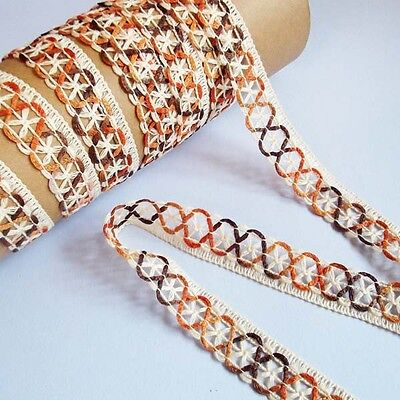 DIY/Cotton Crochet Border Lace Edging Ribbon 2.5 cm. width,two tone Color