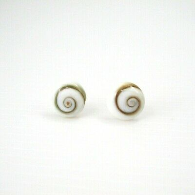925 Sterling Silver Round 6mm Cream White Spiral Shiva Eye Shell Stud Earrings