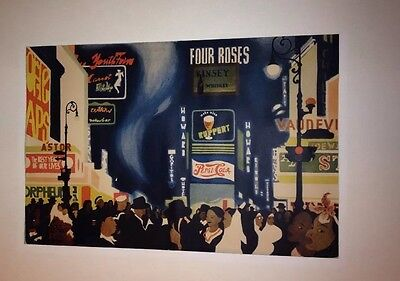 Vtg Poster 1946 Times Square NYC Broadway Four Roses Astor Loew's Pepsi Cola Art
