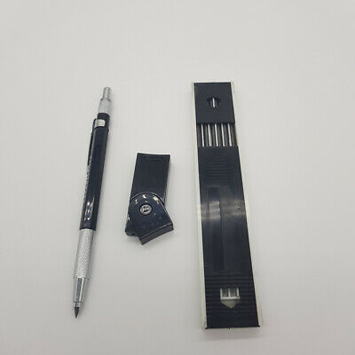 Black Technico 2.0MM Mechanical Leadholder Clutch Pencil With 12x 2B 2mm leads