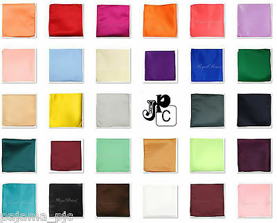 New Men's SOLID Pocket Square Hankie Only 10 x 10 inches