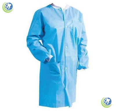 Medical Dental Disposable Re-Use Protective Lab Coat Gowns Blue 10/bag 3-Layered