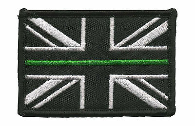 Thin Green Line - Ambulance Service - Union Jack Hook backed patch ( Badge UK
