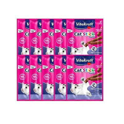 NEW 30pcs Vitakraft Cat Stick Mini Cod & Pollock 18g - Made in Germany