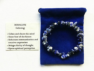 Sodalite Bracelet Gemstone Crystal Chip Beads Stretch 'BUY 3 GET 1 FREE'