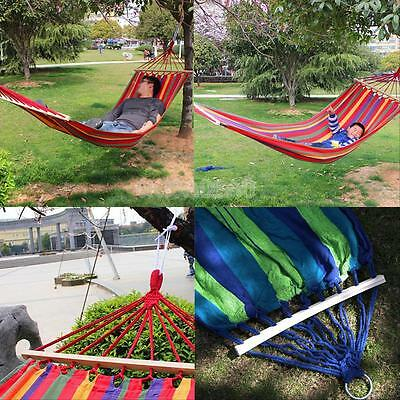 #gib Canvas Fabric Double Spreader Bar Hammock Outdoor Camping Swing Hanging Bed