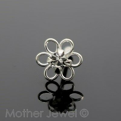 Real 925 Sterling Silver 4Mm Crystal Daisy Flower Nose Stud Straight Pin Bone