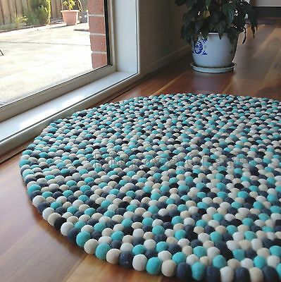 Felt Ball Rug | Original Mimosa Design 100% Wool Ocean White Kids Nursery Rugs