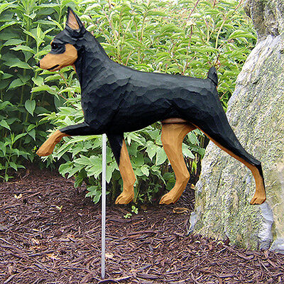 Mini Pinscher Outdoor Garden Dog Sign Hand Painted Figure Black/Tan
