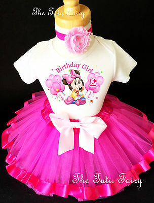 8416857459b Baby Minnie Mouse Hot Pink 2nd Birthday Shirt Tutu Outfit Set Party girl