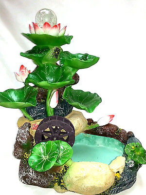 Chinese Oriental Feng Shui Polyresin Lotus Flowers Feature Water Fountain