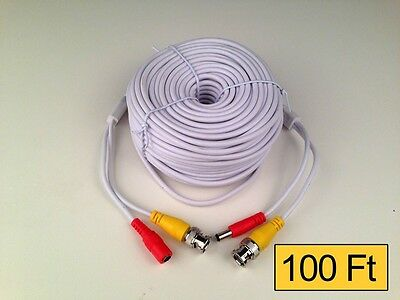 100 Feet Ft Premium Premade Coaxial Siamese Cable White/Black wholesale lots