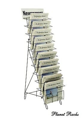 "Planet Racks 10 Tier 54"" Tall Wire Newspaper Display - Closeout"