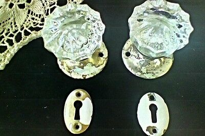 Vintage 12 Point Crystal Glass Knobs With Shabby Brass Rosettes & Keyhole Covers • CAD $60.42