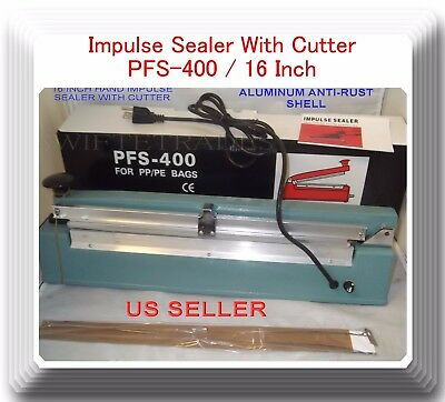 "16"" PFS400C Hand Impulse Sealer With Cutter +2 Heating Element + 2 Teflon Sheet"