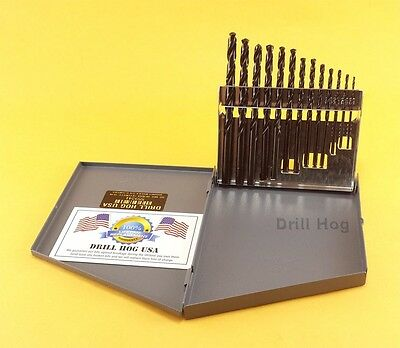 Drill Hog® 13 Pc Pig Steel Drill Bits Set 1/16-1/4 Lifetime Warranty MADE IN USA