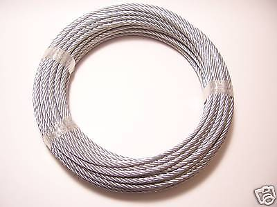 "Galvanized Wire Rope Cable 1/4"", 7x19, 100 ft coil"