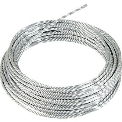 "Galvanized Wire Rope Cable 1/4"", 7x19, 50 ft Coil"